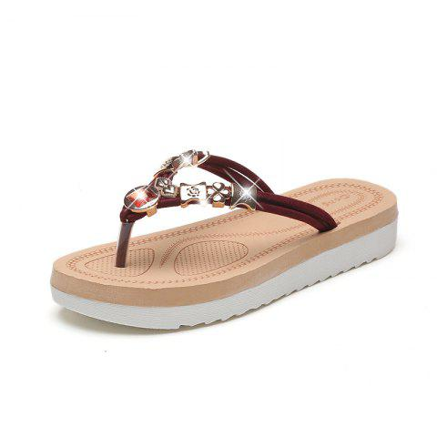 Affordable Rhinestone Casual Beach Flip-Flops