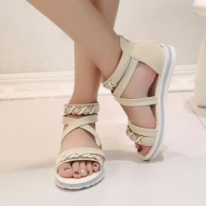 Soft-Soled Flat with Open-Toe Zipper Sandals -