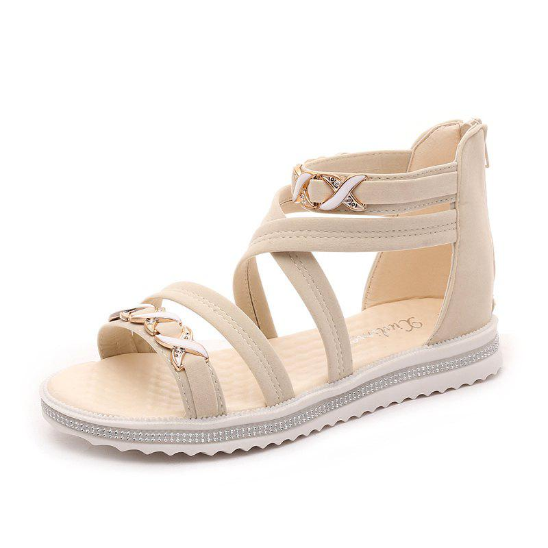 Store Soft-Soled Flat with Open-Toe Zipper Sandals