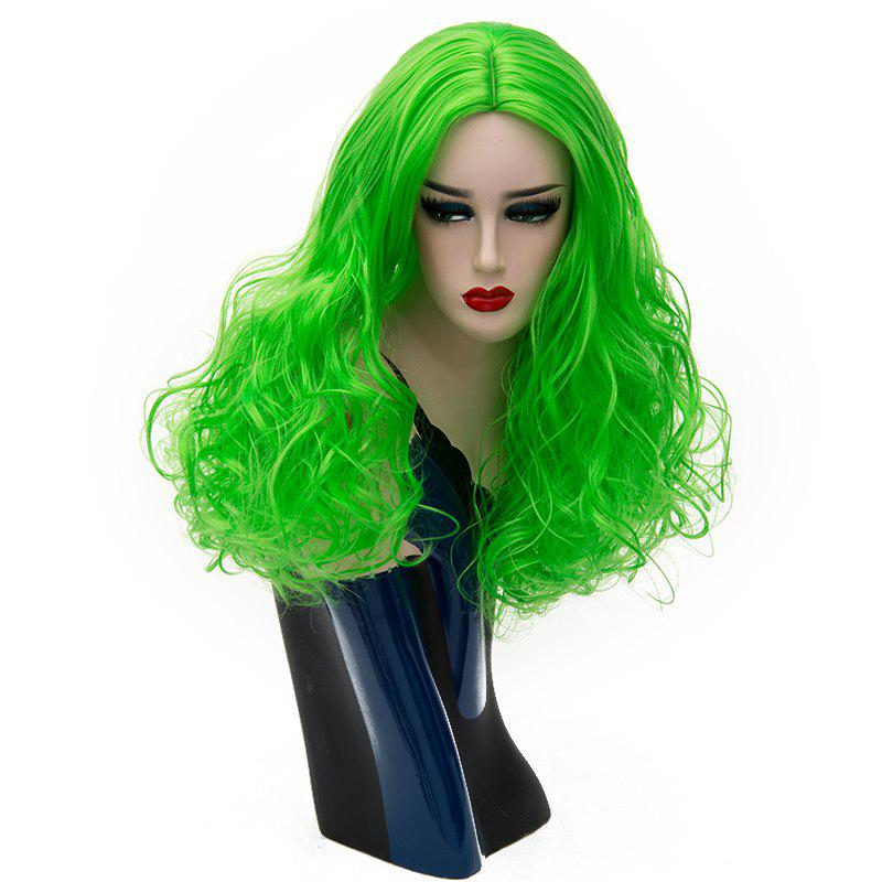 Latest Long Curly Wig for Women Light Green Hair Heat Resistant Cosplay  Party 22 inch f7a89bb0ba