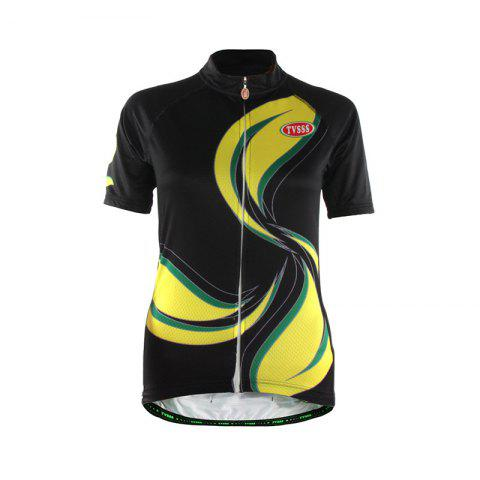 Unique TVSSS Women Summer Short Sleeve Yellow Painted Pattern Cycling Sportswear