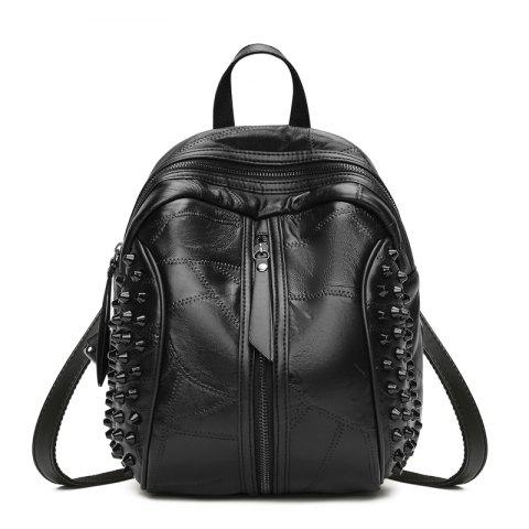 Unique The New Type Women's Backpack Covered with Black Soft Leather