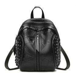 The New Type Women's Backpack Covered with Black Soft Leather -