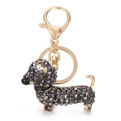 Discount Alloy Diamond Cute Dachshund Dog Keychain