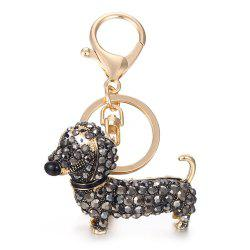Alloy Diamond Cute Dachshund Dog Keychain -