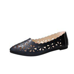 Hollow Out Flat  Pointed Head Shallow  Shoes -