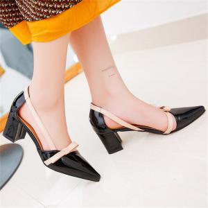 Patent Leather Baotou Thick  Pointed High Heels Women's Shoes -