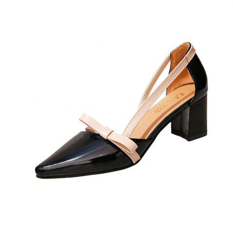 Outfit Patent Leather Baotou Thick  Pointed High Heels Women's Shoes