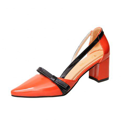 Chic Patent Leather Baotou Thick  Pointed High Heels Women's Shoes