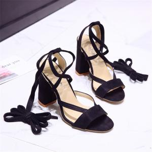 Trend Sweet Bandage Coarse Women's Shoes -