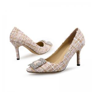 VICONE Elegant Tweed Strass Chaussures -
