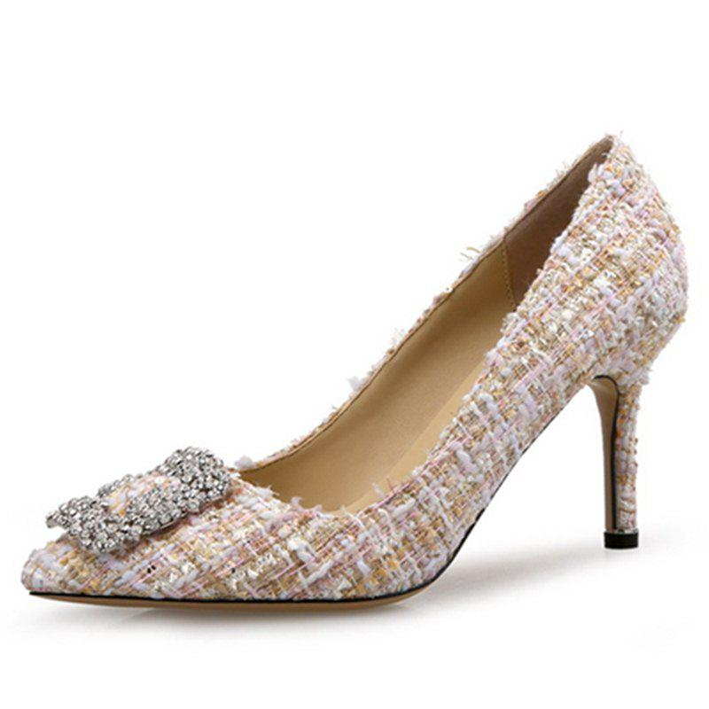 VICONE Elegant Tweed Strass Chaussures