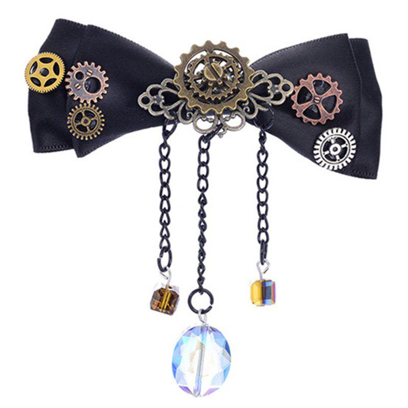 Latest Europe and The United States Popular Steampunk Fabric Bow Gear Duckbill Clip