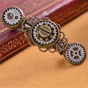 Nouveau style exagéré bijoux Steampunk Gear alliage Clip de printemps en épingle à cheveux -