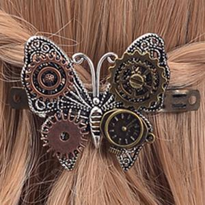 European and American Fashion Jewelry Steampunk Gear Alloy Butterfly Hair Clips -