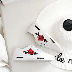 2018 New Korean Embroidery Flower White  All-match Flat Casual Shoes -