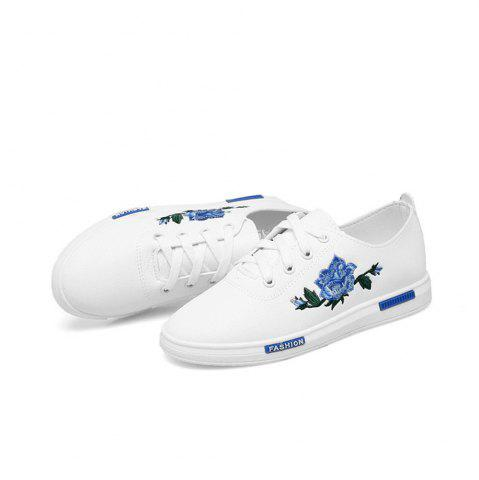 Hot 2018 New Korean Embroidery Flower White  All-match Flat Casual Shoes