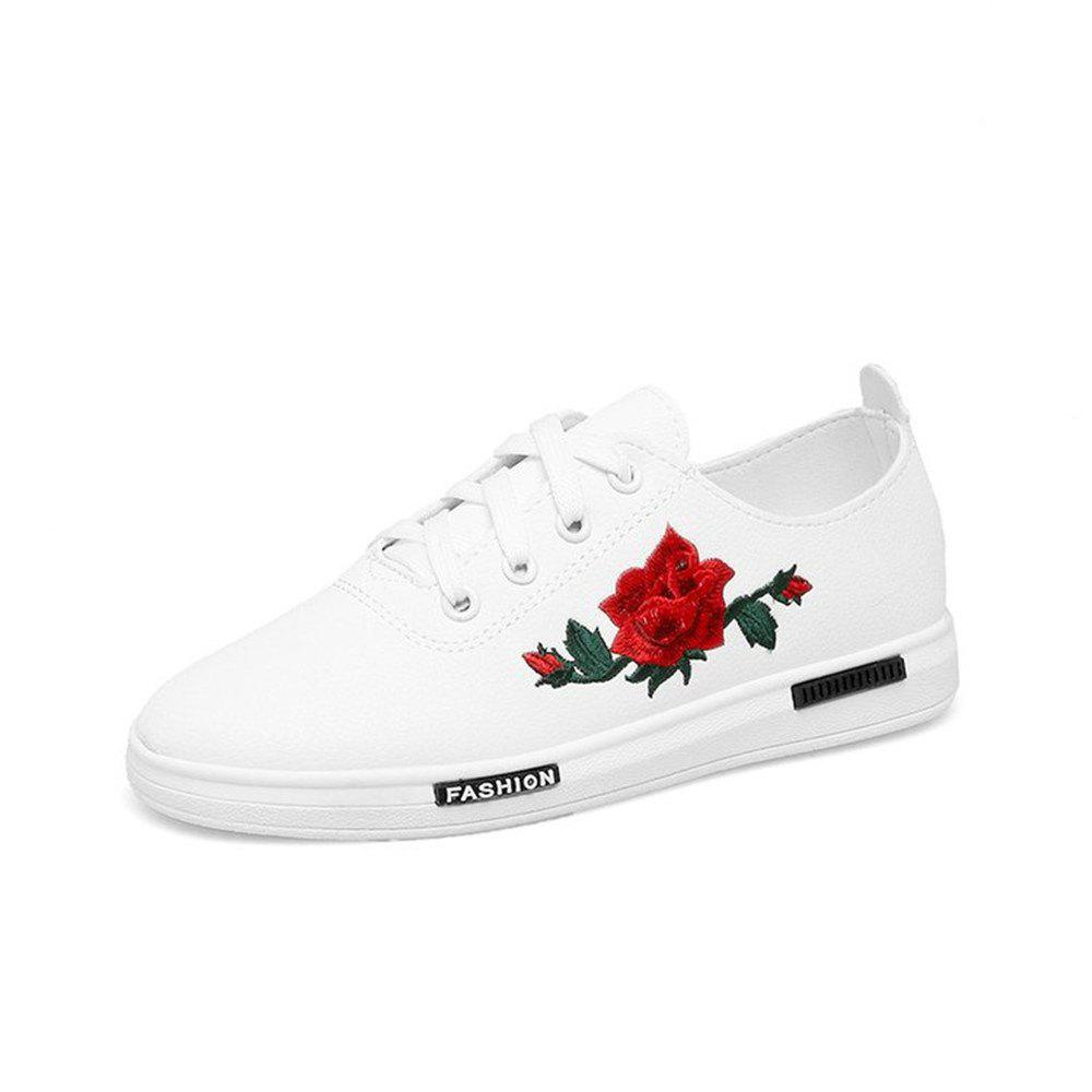 Affordable 2018 New Korean Embroidery Flower White  All-match Flat Casual Shoes