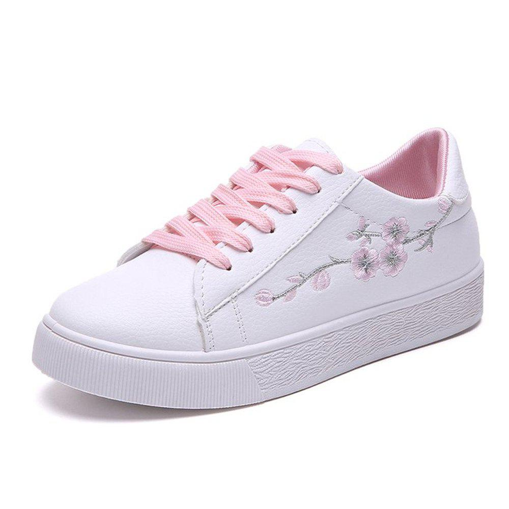 aa377faaae7e6f Latest 2018 New Students All-match Flat Casual Embroidery Flower White Shoes