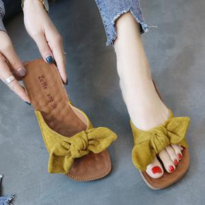 Flat Bottomed Toed Bow Tie Slippers -