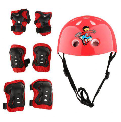 Hot 7 Pieces Kids Roller Skating Cycling Helmet Knee Elbow Pad Wrist Guard Gear Sets