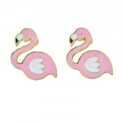 Pink White Enamel Flamingo Shape Earrings -
