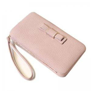 Women Long Leather Large Bow Wallet Sweet Style Clutch -