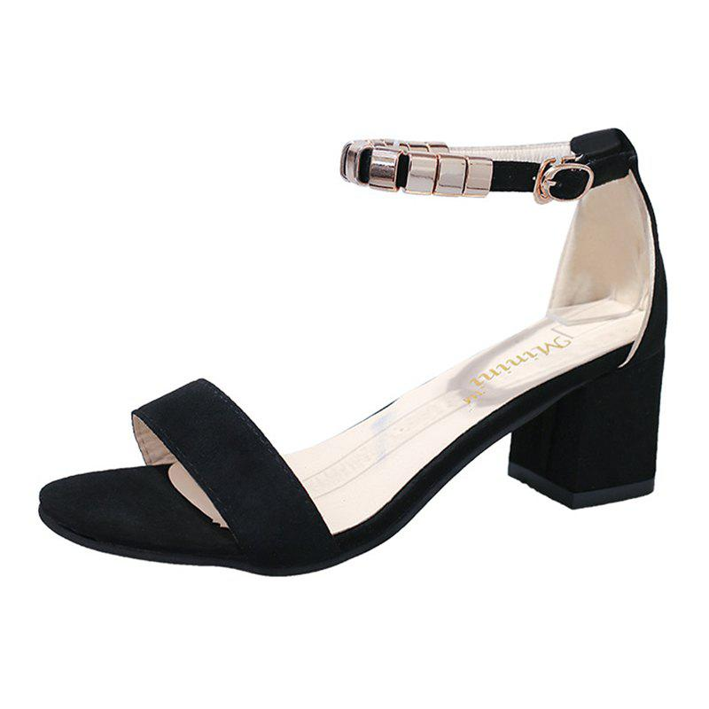 92bb1fc8b08 2019 Women Ankle Strap Low Block Heel Casual Sandals