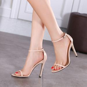 Women Fashion Single Band Ankle Strap Open Toe Sandals -