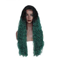 Green Small Roll Chemical Fiber Front Lace Wig -