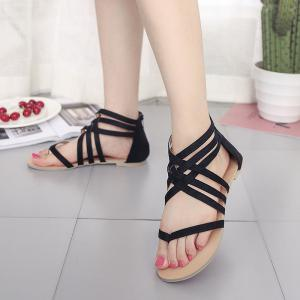 Flats Strappy Front Bandage Clip Toe Summer Base Zipper Sandals -