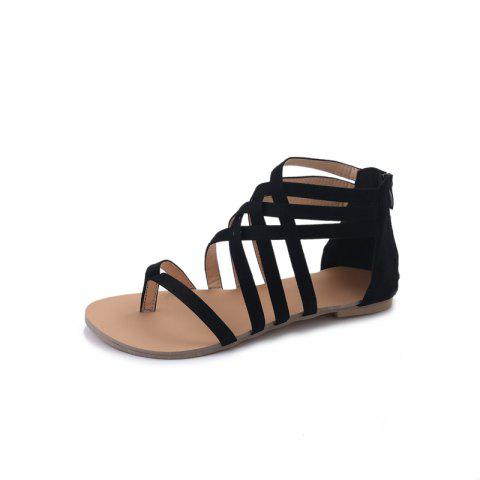 Affordable Flats Strappy Front Bandage Clip Toe Summer Base Zipper Sandals