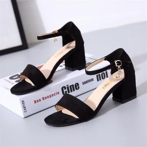 High Heel Thick Button Down Pearl Roman Lady's Shoes -