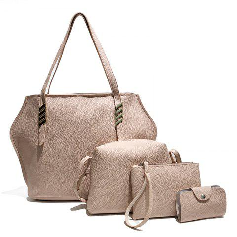 Affordable Litchi Grain Solid Color Four-Piece Shoulder Slung Handbag