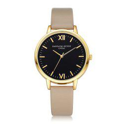 Leather Watchband Simple Black Dial Watch Ladies Casual Fashion -