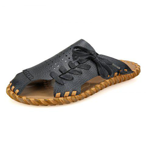 Hot Men Summer Lazy Leisure Hole Leather Baotou Sandals
