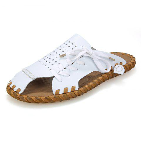 Sale Men Summer Lazy Leisure Hole Leather Baotou Sandals
