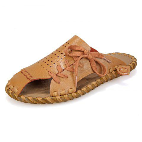 Affordable Men Summer Lazy Leisure Hole Leather Baotou Sandals