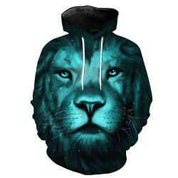 Fashion Lion Head Printed Hoodie -