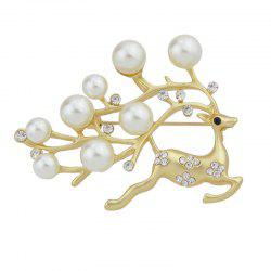 Rhinestone Simulated-pearl Lovely Deer Brooches -