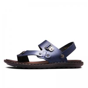 Men Microfiber Leather Large Size Clip Toe Wear-resistant Casual Sandals -
