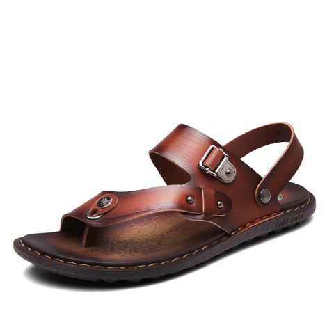 Chic Men Microfiber Leather Large Size Clip Toe Wear-resistant Casual Sandals