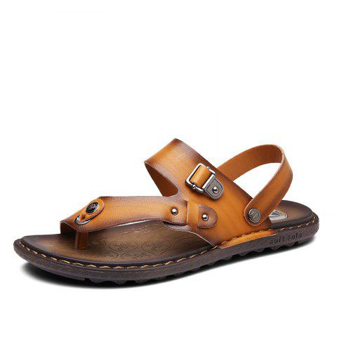 Fancy Men Microfiber Leather Large Size Clip Toe Wear-resistant Casual Sandals