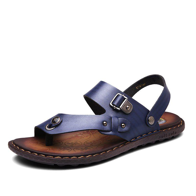 Affordable Men Microfiber Leather Large Size Clip Toe Wear-resistant Casual Sandals