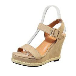 Hemp Wedge Suede Sandal Shoes -