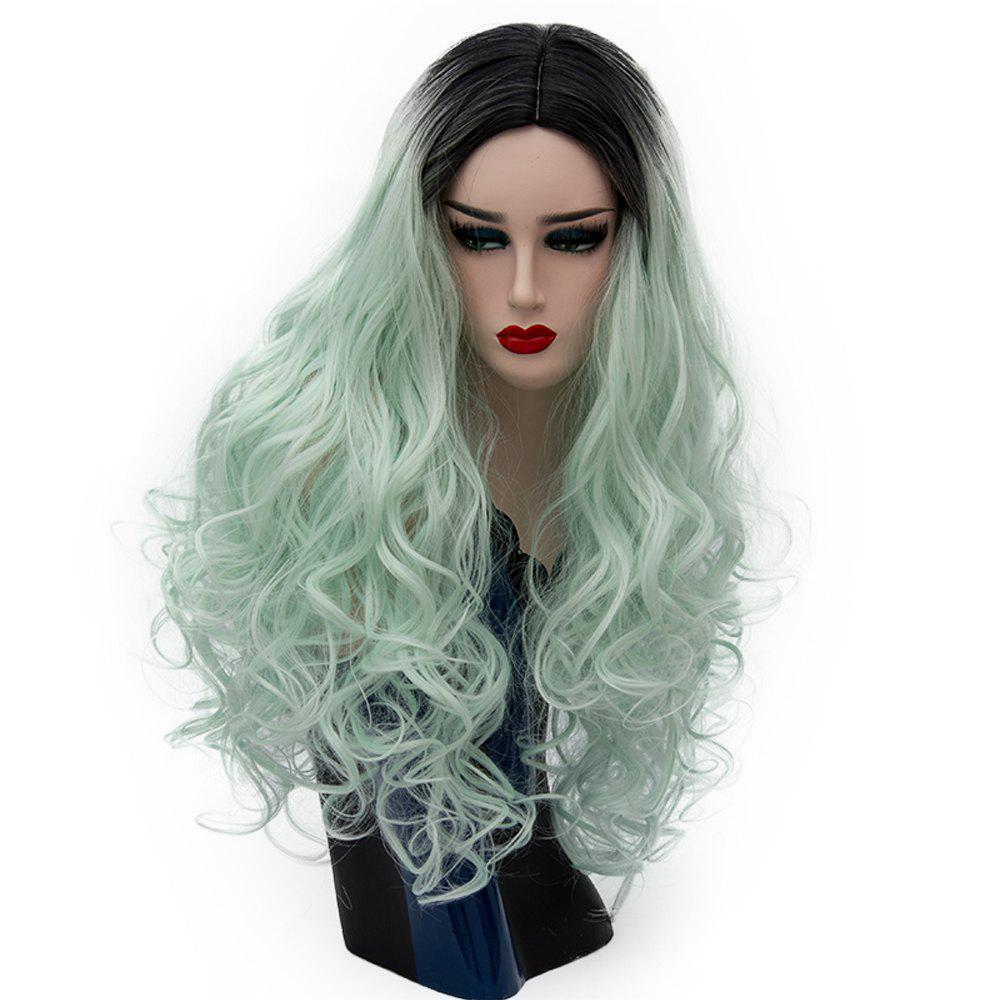 Latest Long Curly Two Tone Dark Roots Green Wig for Women Cosplay Heat  Resistant 29 inch ed5acb2d7