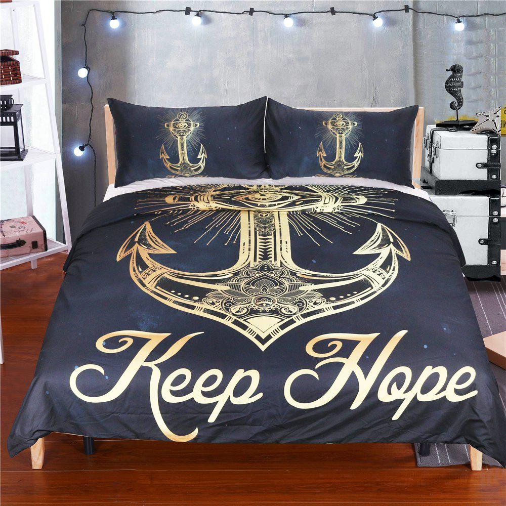 Golden Anchor Literie housse de couette Set Digital Print 3pcs