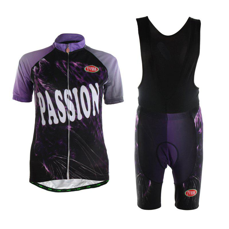 Store TVSSS Women Summer Short Sleeve Purple Cycling Suit