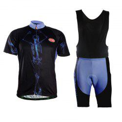 TVSSS Men Summer Short Sleeve Skeleton Pattern Cycling Jersey Suit -