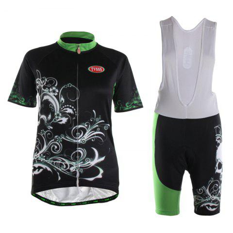 Unique TVSSS Women Summer Short Sleeve Crystal Plant Pattern Black Bike Jersey Suit